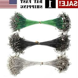 72Pcs Fishing Line Steel Wire Leader With Swivel Fishing Tac