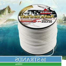 Ashconfish Braided Fishing Line-16 Strands Hollow Core White