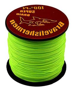 Fluorescent Green Super Strong Pe Braided Fishing Line 6LB t
