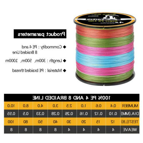 300/500/1000M Strong PE Braided Line Fishing Strands &