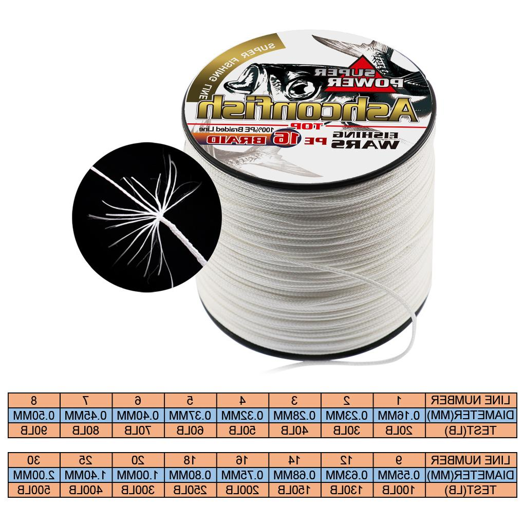 multifilament 16 Strands braided 500M hollowcore thread 0.20-2.0mm super saltwater <font><b>fishing</b></font> cords
