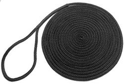 Rope USA Nylon Dock Line, Black, 1/2-Inch x 15-Feet