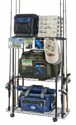 Organized Fishing Adjustable 3-Shelf Rolling Tackle Trolley
